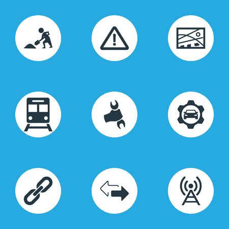 Vector Illustration Set Of Simple City Icons. Elements Warning, Reverse Directions, Relation And Other Synonyms Sign, Tower And Map. Illustration