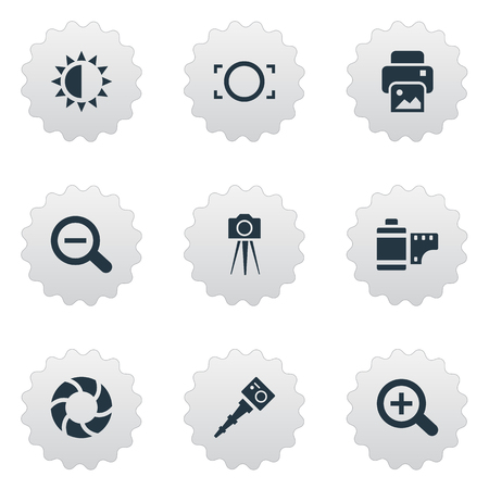 Vector Illustration Set Of Simple Photography Icons. Elements Movable Camcorder, Camcorder, Brilliance And Other Synonyms Photographing, Zoom And Rustication.