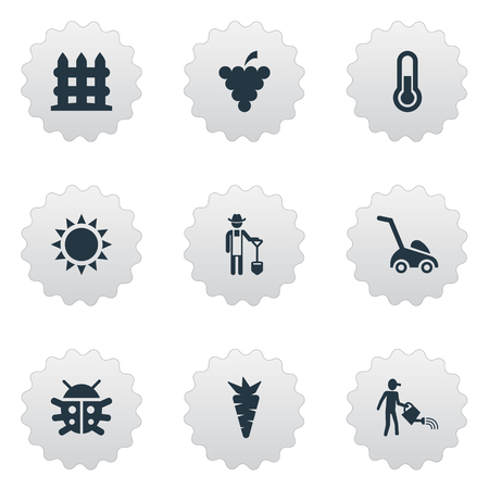 Vector Illustration Set Of Simple Horticulture Icons. Elements Fruit, Root, Grass Cutting Machine And Other Synonyms Fahrenheit, Thermometer And Farmer. Illustration