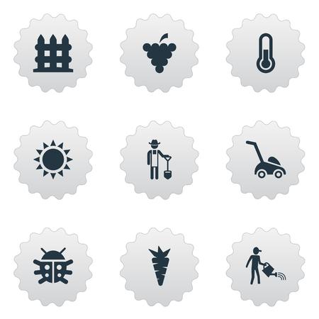 Vectorillustratiereeks Eenvoudige Tuinbouwpictogrammen. Elementen Fruit, wortel, grassnijmachine en andere synoniemen Fahrenheit, thermometer en boer.