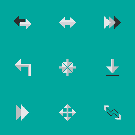 Vector Illustration Set Of Simple Indicator Icons. Elements Import, Onward, Inside And Other Synonyms Arrow, Turn And Alert.