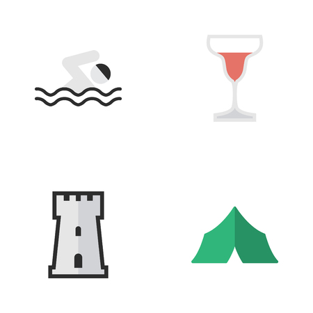 Vector Illustration Set Of Simple Holiday Icons. Elements Wine, Tower, Camping And Other Synonyms Defence, Tent And Tower.