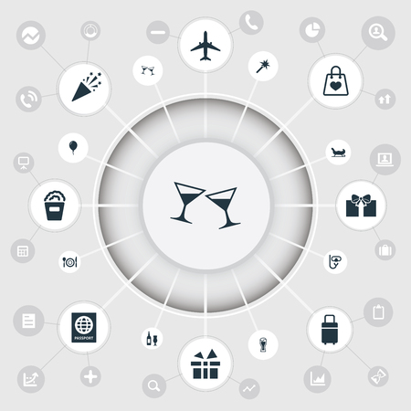 Vector illustratie Set van eenvoudige pictogrammen. Elementen Snorkelen, Vliegtuigen, Spellen en andere synoniemen Magie, Lunch en Snorkelen.