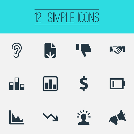 Vector Illustration Set Of Simple Crisis Icons. Elements Charge, Descending Sales, Deal And Other Synonyms Dollar, Deafness And Agreement.