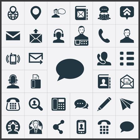 シンプルなベクター イラスト セットは、アイコンを接続します。要素のテレマーケティング、Web、ファックス、他の同義語検索、希望、お問い合わせください。 写真素材 - 83462089