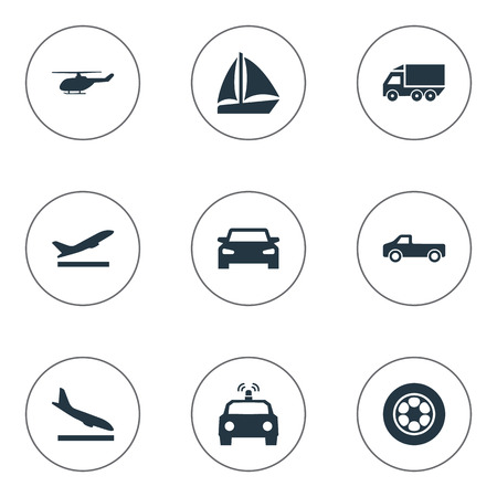 Vector Illustration Set Of Simple Transportation Icons. Elements Jeep, Tire, Motor Lorry And Other Synonyms Ship, Police And Lorry. Ilustração