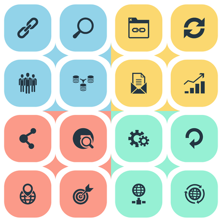 Vector Illustration Set Of Simple SEO Icons. Elements Cogwheel, Loupe, Group And Other Synonyms Group, Connection And Envelope.
