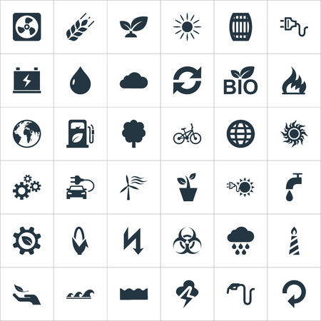 벡터 일러스트 레이 션 간단한 녹색 아이콘의 집합입니다. 요소 Sunglow, Houseplant, 화재 왁스 및 다른 동의어 햇빛, 풍차와 구름.