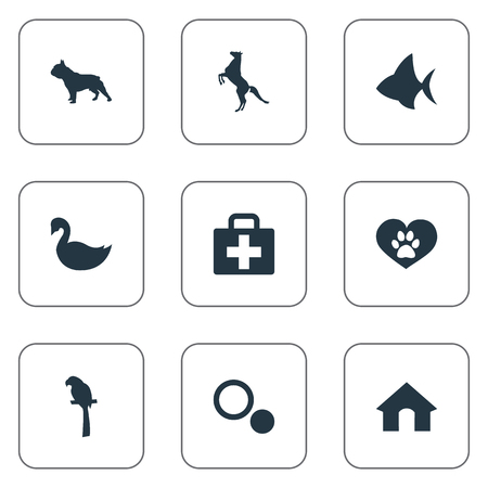 Vector Illustration Set Of Simple Zoo Icons. Elements Doghouse, Wildlife, English Purebred And Other Synonyms Bird, Bulldog And Seafood.