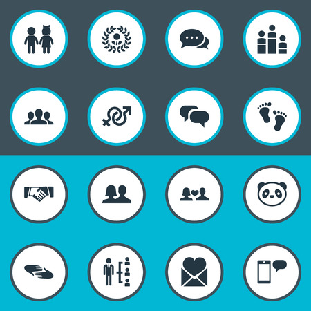 Vector Illustration Set Of Simple Mates Icons. Elements Unity, Talk, Toy And Other Synonyms Leadership, Partnership And Order.