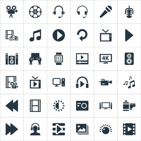 シンプルなマルチ メディア アイコンのベクター イラスト セット。要素耳あて、ホームシアター、リール、その他類義語規制輝きと Crotchets。  イラスト・ベクター素材