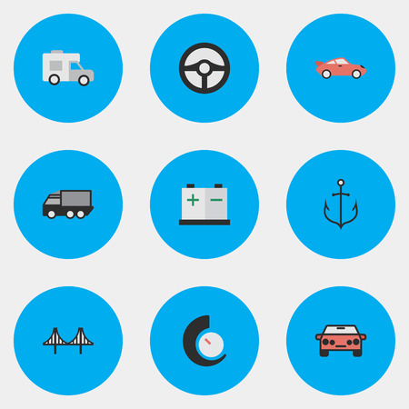 Vector Illustration Set Of Simple Traffic Icons. Elements Van, Armature, Auto And Other Synonyms Truck, Car And Charge.