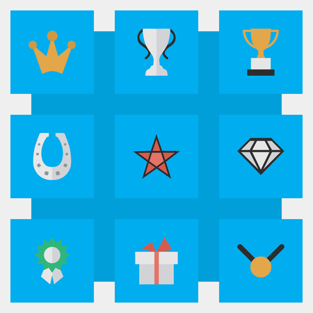 Vector Illustration Set Of Simple Prize Icons. Elements Diamond, Present, Metal And Other Synonyms Chalice, First And Coronet.