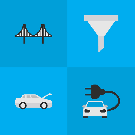 Vector Illustration Set Of Simple Transportation Icons. Elements Charge, Automobile, Bridgework And Other Synonyms Car, Green And Bridge.
