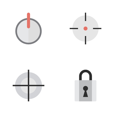 investigating: Vector Illustration Set Of Simple Offense Icons. Elements Target, Safe, Sniper And Other Synonyms Goal, Password And Shot.