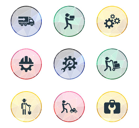 Vector Illustration Set Of Simple Information Icons. Elements Truck, Toolbox, Delivery Worker And Other Synonyms Worker, Engineering And Gardening.