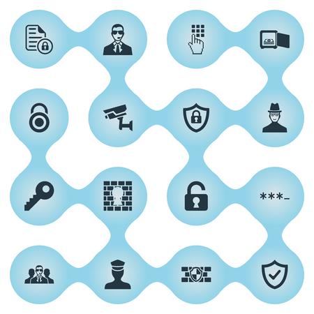 Vector Illustration Set Of Simple Security Icons. Elements Entering Password, Inspector, Protected Document And Other Synonyms Tracking, Stone And Surveillance.