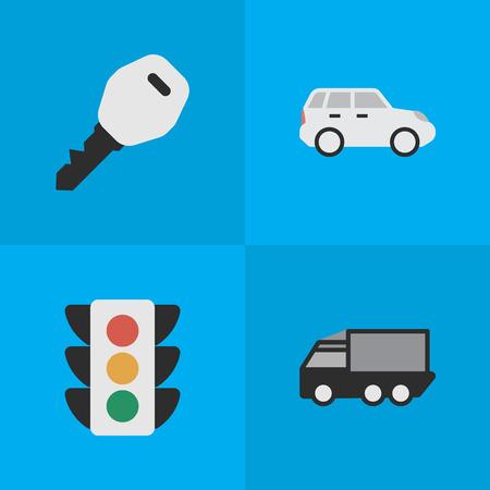 シンプルな交通アイコンのベクター イラスト セット。要素のオープン、Suv、トラック、他類義語トラックのキーとのクロス オーバー。