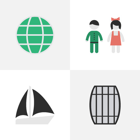 Vector Illustration Set Of Simple Holiday Icons. Elements Cask, World, Schooner And Other Synonyms Couple, Boat And Schooner. Illustration