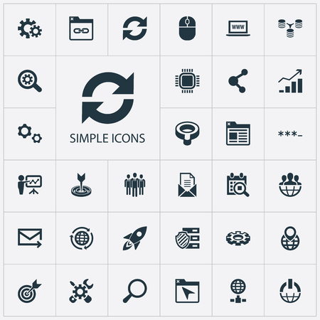Vector Illustration Set Of Simple Search Icons. Elements Power Button, Staff, Setting And Other Synonyms Search, Junction And Web.