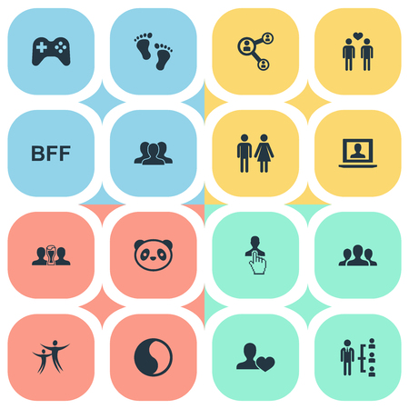 Vector Illustration Set Of Simple Fellows Icons. Elements Love, Controller, Crowd And Other Synonyms Gay, Men And Profile.