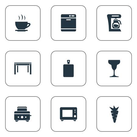 簡単な料理のアイコンのベクトル イラスト セット。要素のワイングラス、食器洗浄機、オーブン、類義語トースター、有機パン屋さん。
