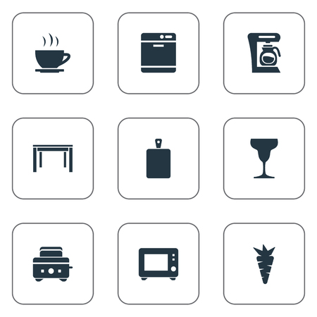 Vector Illustration Set Of Simple Gastronomy Icons. Elements Wineglass, Dishware Washer, Oven And Other Synonyms Toaster, Organic And Bakery.