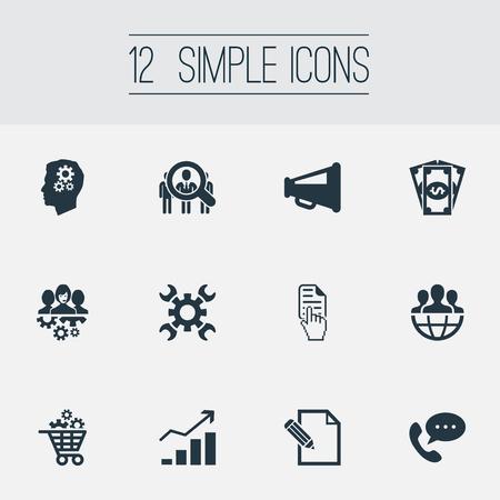 Vector illustratie Set van eenvoudige brainstormen pictogrammen. Elements Gear Cart, Global Trade, Headhunting And Other Synoniemen Commercial, Coins and Money.