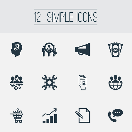 Vector Illustration Set Of Simple Brainstorming Icons. Elements Gear Cart, Global Trade, Headhunting And Other Synonyms Commercial, Coins And Money.