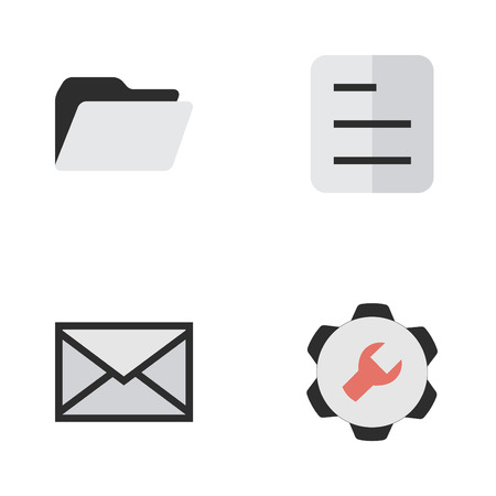 Vector Illustration Set Of Simple Interface Icons. Elements Envelope, Document, Settings And Other Synonyms Envelope, Archive And Inbox.