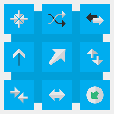 Vector Illustration Set Of Simple Pointer Icons. Elements Chaotically, Southwestward, Up And Other Synonyms Chaotically, Internet And Shuffle.