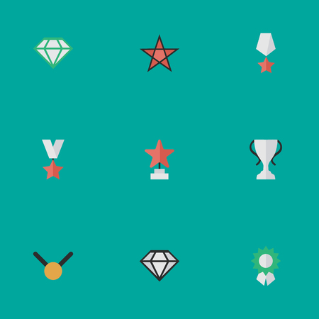 Vector Illustration Set Of Simple Champion Icons. Elements Premium, Star, Gemstone And Other Synonyms Goblet, Expensive And First. 版權商用圖片 - 83462120