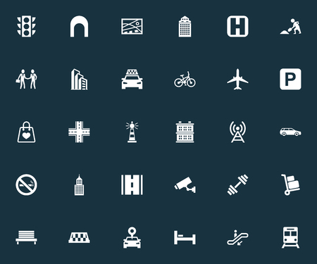벡터 일러스트 레이 션 간단한 인프라 아이콘의 집합입니다. 요소 웨이, 자동차, 공사 및 기타 동의어 자동차, 건물 및 위치. 일러스트