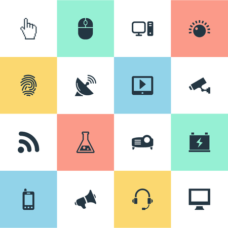 Vector Illustration Set Of Simple Device Icons. Elements PC, Satellite Antenna, Finger And Other Synonyms Display, Finger And Control.
