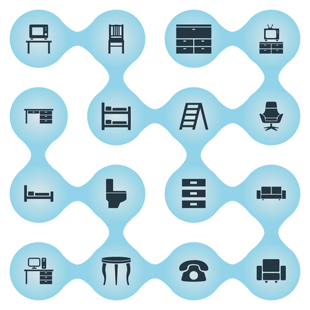 Vector Illustration Set Of Simple Furniture Icons. Elements Stillage, Contemporary Design, Furniture And Other Synonyms Container, Seat And Comfort.