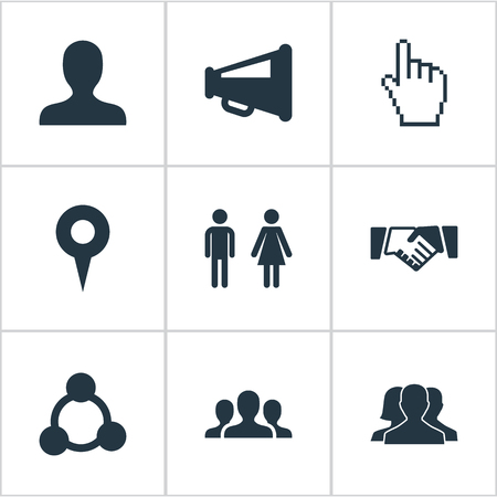 Vector Illustration Set Of Simple Media Icons. Elements Cursor, Web, Megaphone And Other Synonyms User, Handshake And Network.