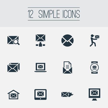 벡터 일러스트 레이 션 간단한 메일 아이콘의 집합입니다. 요소 페이지, Mailman, 보내기 및 기타 동의어 굽기, 기호 및 태블릿.