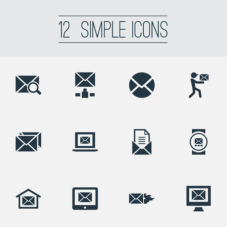 Vector Illustration Set Of Simple Mail Icons. Elements Pages, Mailman, Sending And Other Synonyms Burn, Symbol And Tablet. 版權商用圖片 - 83462130