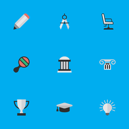 Vector Illustration Set Of Simple Education Icons. Elements Measurement Dividers, Goblet, Pen And Other Synonyms University, Bulb And Pencil.