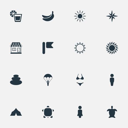 シンプルなビーチ アイコンのベクター イラスト セット。要素は、パラシュート ジャンパー、海事のスター、バランス、その他類義語マダム男と風  イラスト・ベクター素材