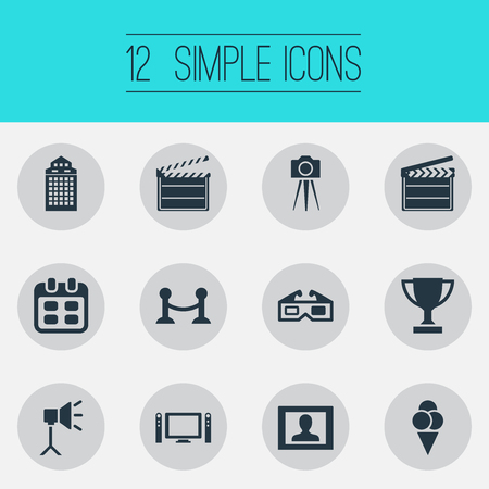 Vector Illustration Set Of Simple Movie Icons. Elements Date, Presenter, Action And Other Synonyms Cinema, Glasses And Television.