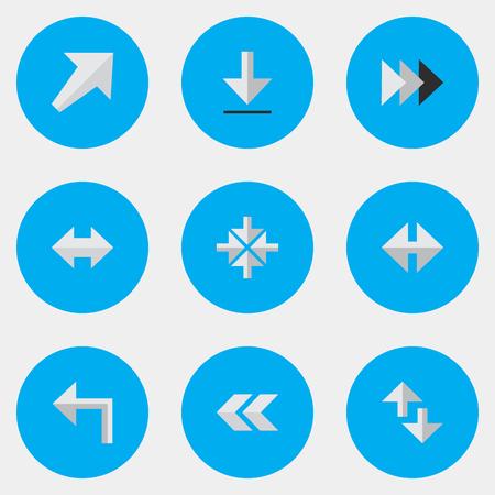 単純なカーソル アイコンのベクター イラスト セット。要素カーソル、向き、Everyway および他の南西、南西は類義語および矢印。
