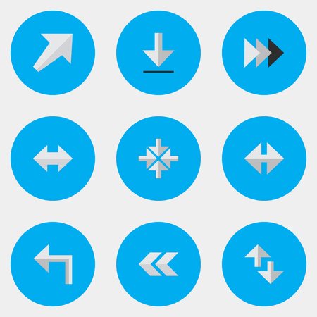 Vector Illustration Set Of Simple Cursor Icons. Elements Cursor, Orientation, Everyway And Other Synonyms Southwestward, Southwest And Arrow.