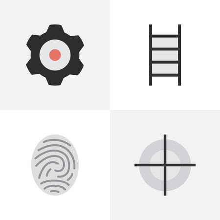 Vector Illustration Set Of Simple Crime Icons. Elements Stairs, Bioskyner, Sniper And Other Synonyms Protection, Mechanical And Cogwheel. Illusztráció