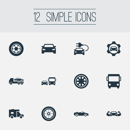 Vector Illustration Set Of Simple Automobile Icons. Elements Automobile, Van, Duplicates And Other Synonyms Speed, Automobile And Rally. Stock Vector - 83529130