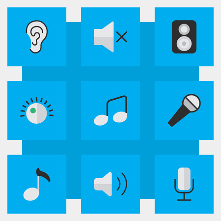 Vector Illustration Set Of Simple Melody Icons. Elements Music Sign, Note, Regulator And Other Synonyms Sign, Listen And Loudspeaker.