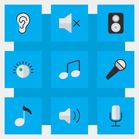 Vectorillustratiereeks Eenvoudige Melodiepictogrammen. Elements Music Sign, Note, Regulator And Other Synoniemen Sign, Listen And Loudspeaker. Stock Illustratie