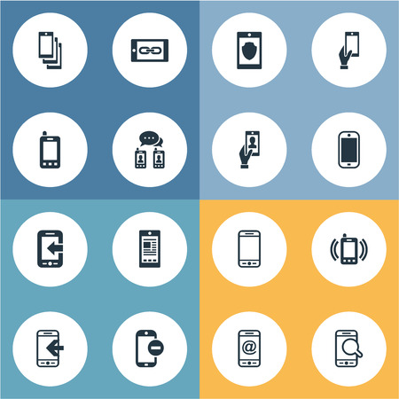 Vector Illustration Set Of Simple Mobile Icons. Elements Smartphone, Speed-Dial, Coupling Device And Other Synonyms Cellphone, Calls And Incoming.