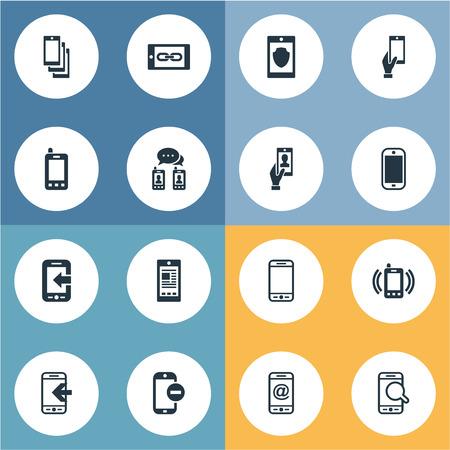 Vektorabbildung-Satz einfache bewegliche Ikonen. Elemente Smartphone, Kurzwahl, Kopplungsgerät und andere Synonyme Mobiltelefon, Anrufe und eingehende Anrufe. Standard-Bild - 83529134