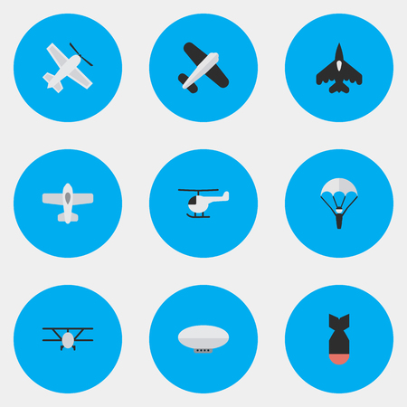 Vector Illustration Set Of Simple Aircraft Icons. Elements Aviation, Airplane, Balloons And Other Synonyms Helicopter, Flying And Vehicle. Illustration